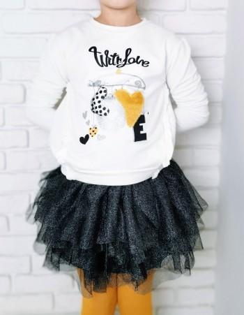 Komplet bluza ze spódnicą tiulową dla dziewczynki