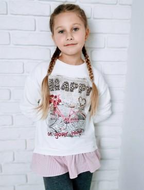 Bluza z obrazkiem i falbanką dla dziewczynki