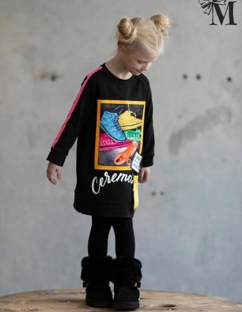 Bawełniana tunika w sportowej stylistyce i modnym zdobieniem