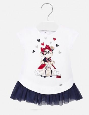 Sukienka dzianina i tiul dla dziewczynki Baby