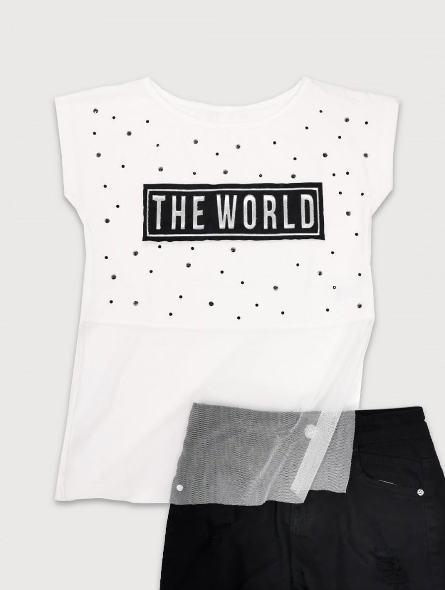 BLUZKA Z OZDOBNĄ SIATECZKĄ ''THE WORLD''