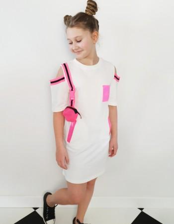 Modna Sukienka Dla Dziewczyny z Taśmami