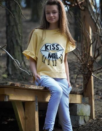 """BLUZKA KRÓTKI RĘKAW Z KAPTUREM """"KISS ME"""""""