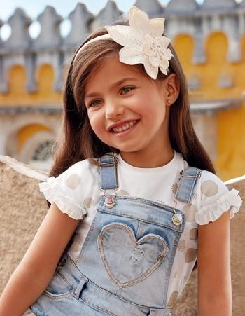 Koszulka z krótkim rękawem w grochy dla dziewczynki