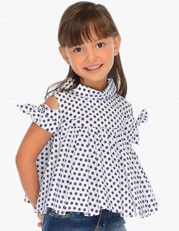 Bluzka we wzory z odkrytymi ramionami dla dziewczynki