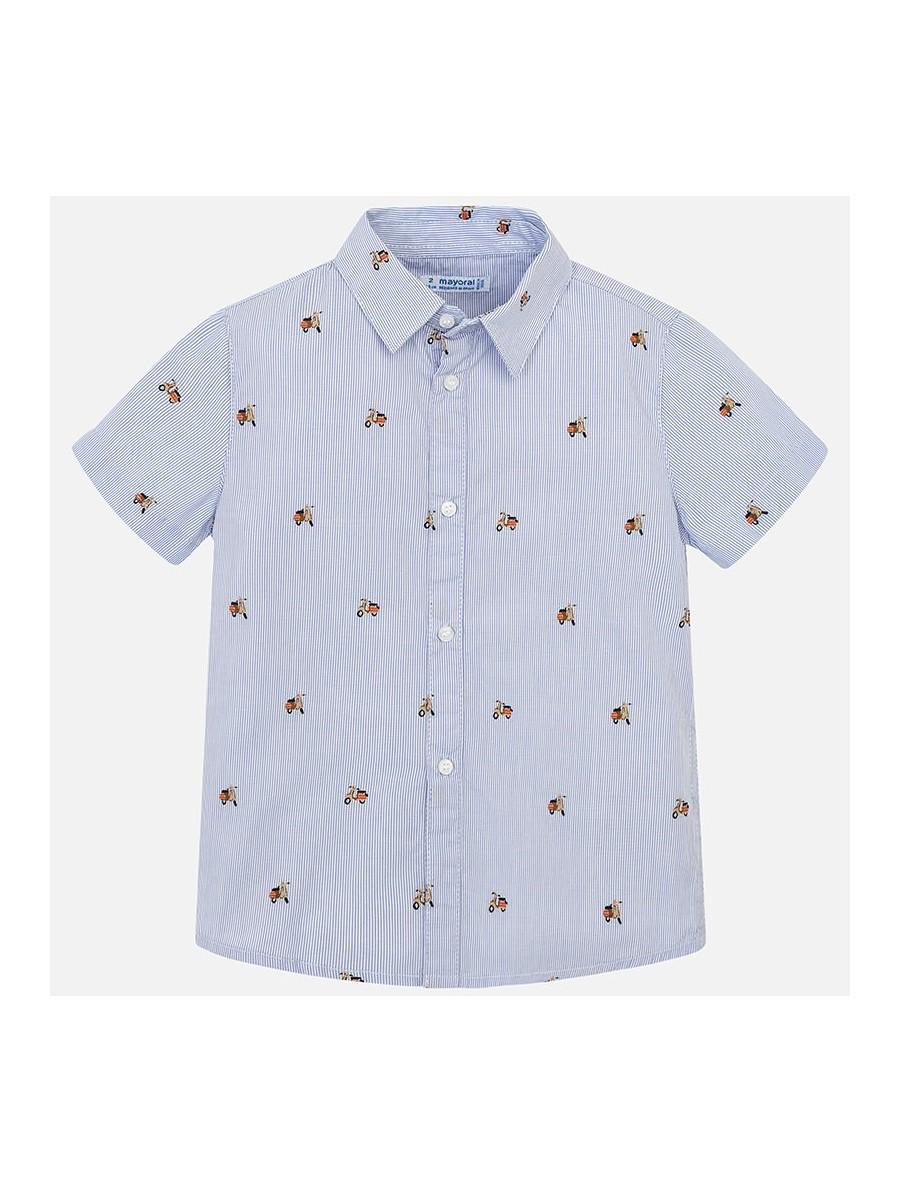 Wzorzysta koszula z krótkim rękawem w paski dla chłopca
