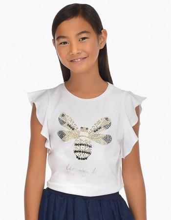 Koszulka z krótkim rękawem z nadrukiem pszczoły dla dziewczyny