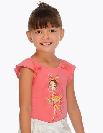 Koszulka z krótkim rękawem z nadrukiem dla dziewczynki
